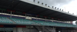 Upgraded exterior red and blue panelled rooms on grandstand.